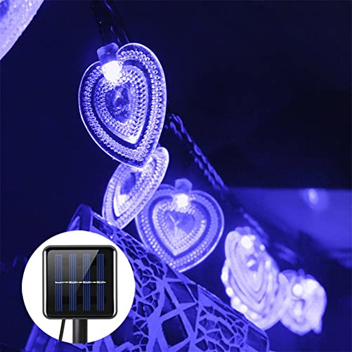 LAFEINA Solar String Lights, Waterproof Heart Shaped Fairy Light String for Outdoor Garden Patio Wedding Decoration Blue