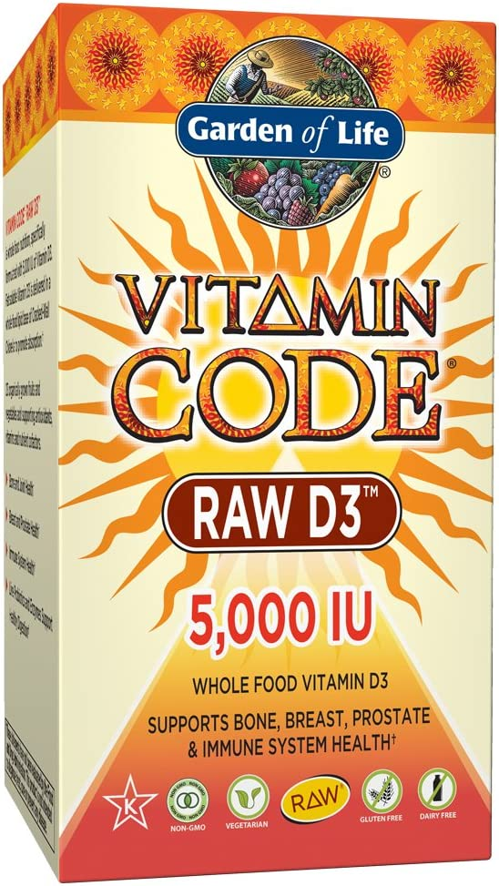 Garden of Life Raw D3 Supplement - Vitamin Code Whole Food Vitamin D3 5000 IU & Organic Green Cracked Wall Chlorella, Gluten Free, Vegetarian, 60 Count Capsules *Color May Vary *Packaging May Vary*