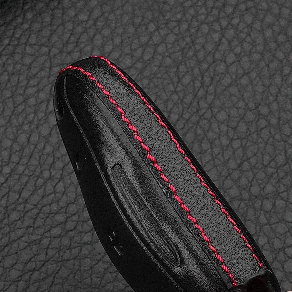 RoyalFox Genuine Leather Smart keyless Entry Remote Key Fob case Cover Key Ring for Tesla Model 3