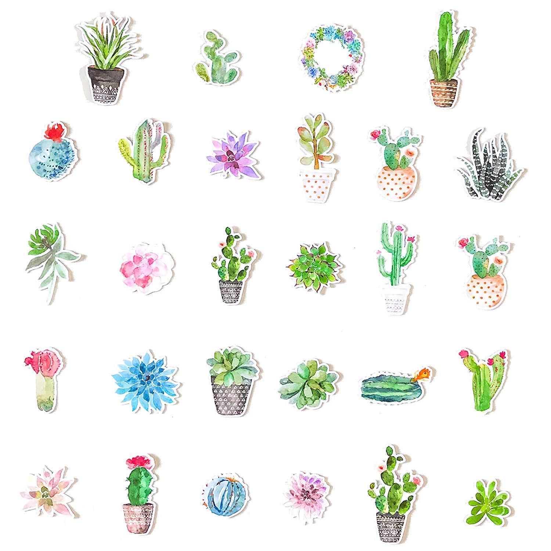 Decorazioni casa o per portatili PC Stickers cactus e piante grasse Kit adesivi per decorare varie superfici Navy Peony Adesivi per computer portatili Stickers bambini e adulti 28 pezzi