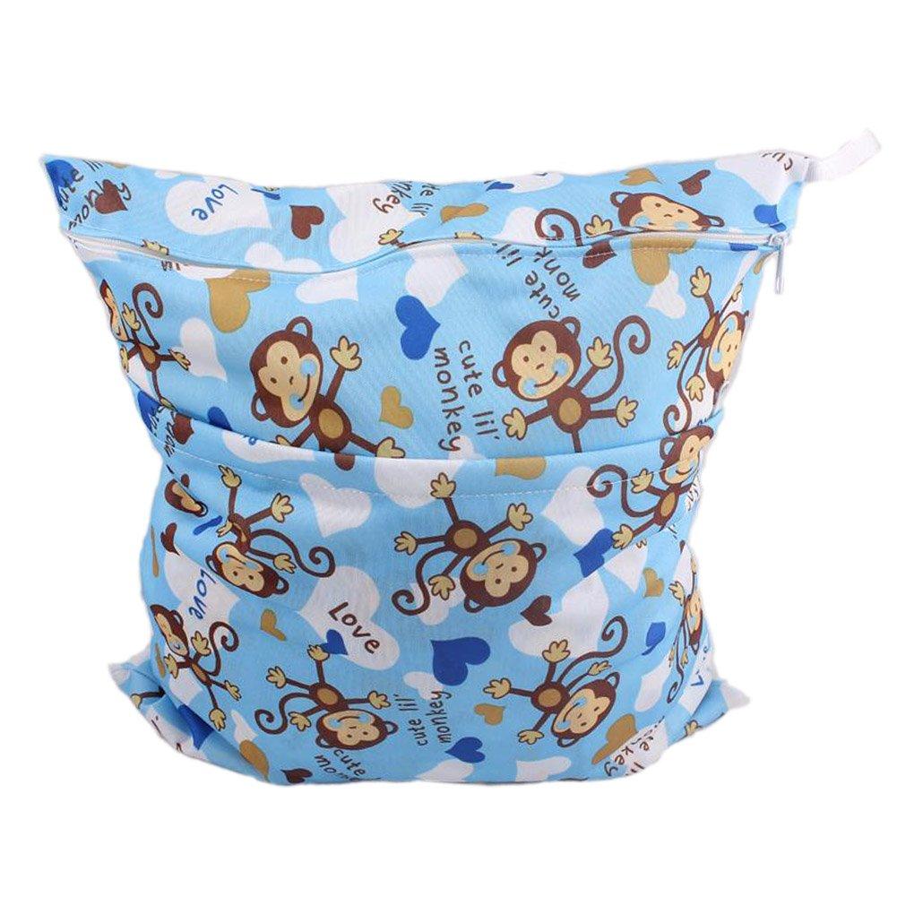 Monkey Wet Bags Waterproof Diaper Bag Multi-function Nappy Bag -14*11 Blue Panda Superstore PS-BAB166767011-CAROL00082