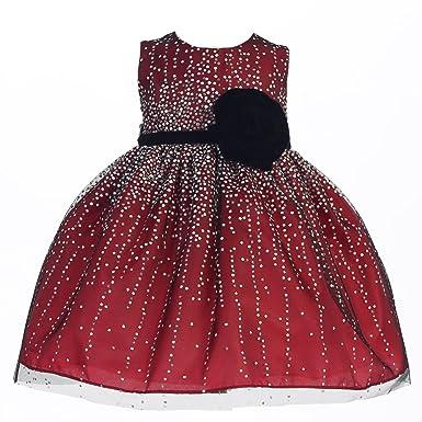 df69061a25c8 Amazon.com  Crayon Kids Baby Girls Red Velvet Flower Sash Sequin ...