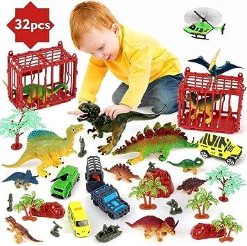 BeebeeRun Juego de Dinosaurios para niños,32 PCS Figura de Dinosaurio Juguetes Juego para Chicos Chicas: Amazon.es: Juguetes y juegos