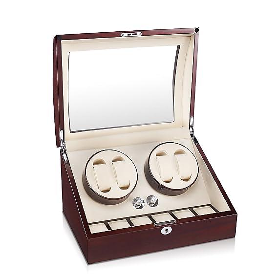aublan madera doble reloj automático enrollador 4 + 6 cajas de almacenamiento para 10 relojes