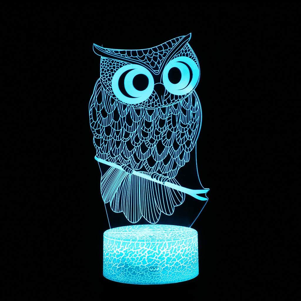 ideal como regalo para ni/ños y adultos Saihui L/ámpara de luz nocturna con luces LED 3D de 7 colores con cable USB