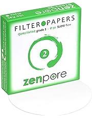9 cm Lab Filter Paper, Standard Qualitative Grade 2 - ZENPORE Slow Flow (100 Discs - 90 mm)