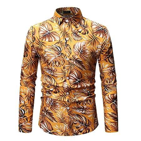 Camisa de los hombres Camisa superior casual de negocios floral para hombres Camisa hawaiana Slim Fit