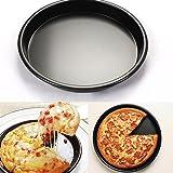 6Inch Profesional Pizza bandeja, plato hondo redondo de aleación de aluminio, antiadherente tarta de pizza bandeja para tartas para horno herramientas, Aleación de aluminio, negro, E: 10inch