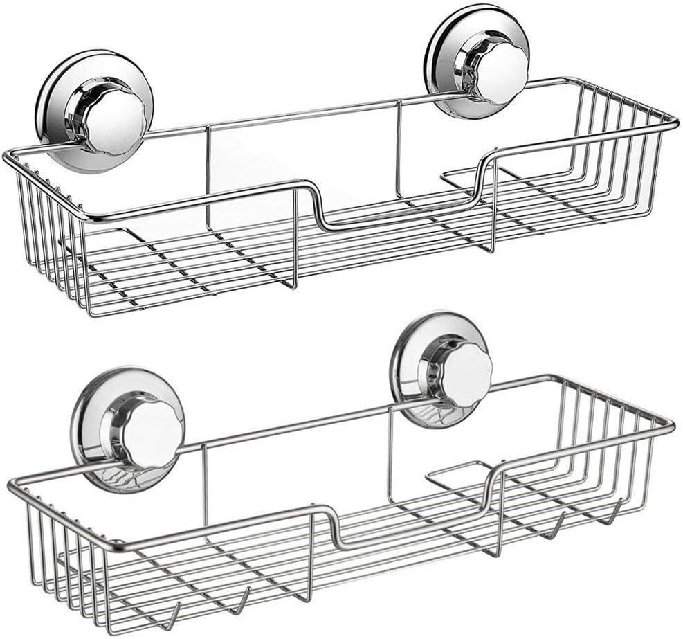 SANNO Shower Caddy,Strong Suction Cup Bathroom Shower Caddies,Bath Shelf Storage Combo Organizer Basket, Kitchen & Bathroom Accessories for Shampoo Conditioner - Rustproof Stainless Steel(Set of 2)