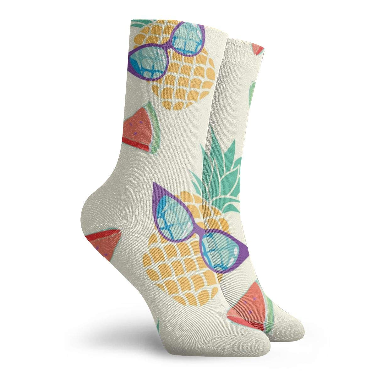 Pineapple Watermelon Lightweight Crew Socks For Womens Cotton Socks