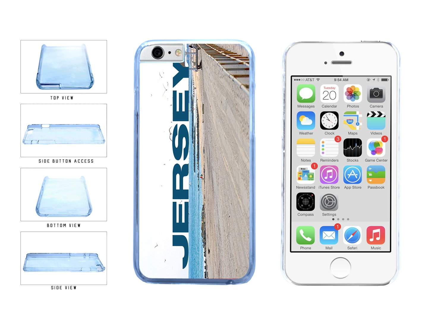 Jersey Beach and Shore Clear Plastic Phone Case Back Cover Apple iPhone 6 6s (4.7 inches screen) includes BleuReign(TM) Cloth and Warranty Label