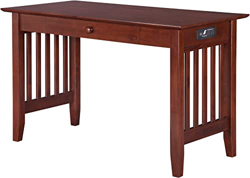 Atlantic Furniture AH12224 Mission Desk with Drawer and Charging Station, Walnut