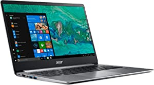 Acer Swift 1 SF114-32 Ultra Slim Laptop in Silver Quad Core Intel N5000 up to 2.7GHz 4GB DDR4 64GB eMMC 14in Full HD Fingerprint Reader Windows 10 in S Mode (Renewed)