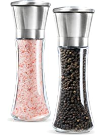 Levav Premium Salt and Pepper Grinder Set of 2- Brushed Stainless Stell Pepper Mill and Salt Mil, Glass Body, Size Grade...
