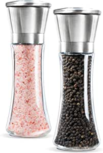 Levav Premium Salt and Pepper Grinder Set of 2- Brushed Stainless Steel Pepper Mill and Salt Mill, 6 Oz Glass Tall Body, 5 Grade Adjustable Ceramic Rotor- Salt and Pepper Shakers