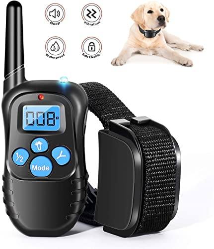 LuckyDarling Dog Shock Collar Full Waterproof Rechargeable Remote Dog Training Collar with Vibration, Shock, Tone and Backlight LCD, Vibra Shock Electronic Collar