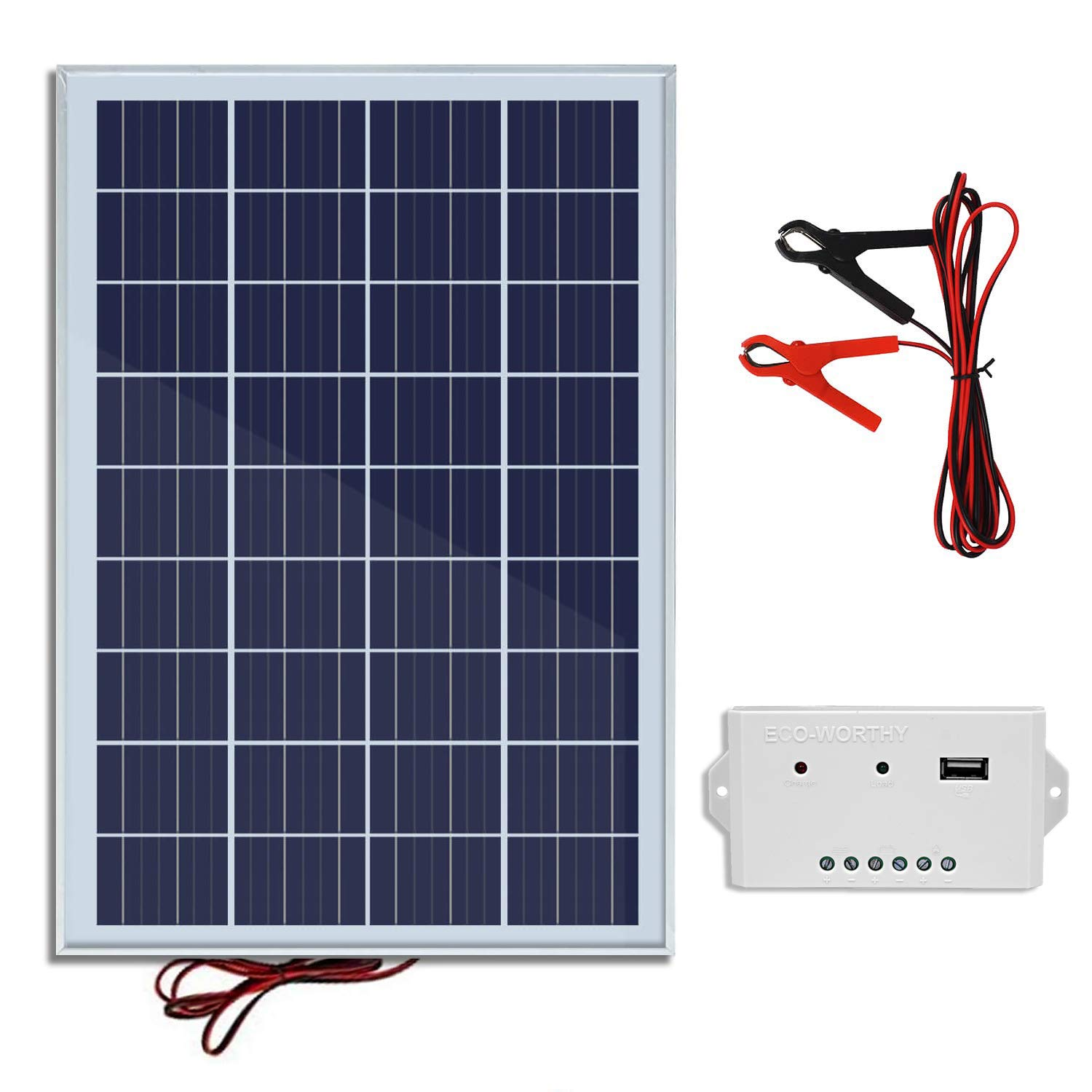 ECO-WORTHY 25W 12V IP65 Solar Panel Kit: 25W Off Grid Polycrystalline Solar Panel & Aluminum Battery Clips & 3A Charge Controller by ECO-WORTHY