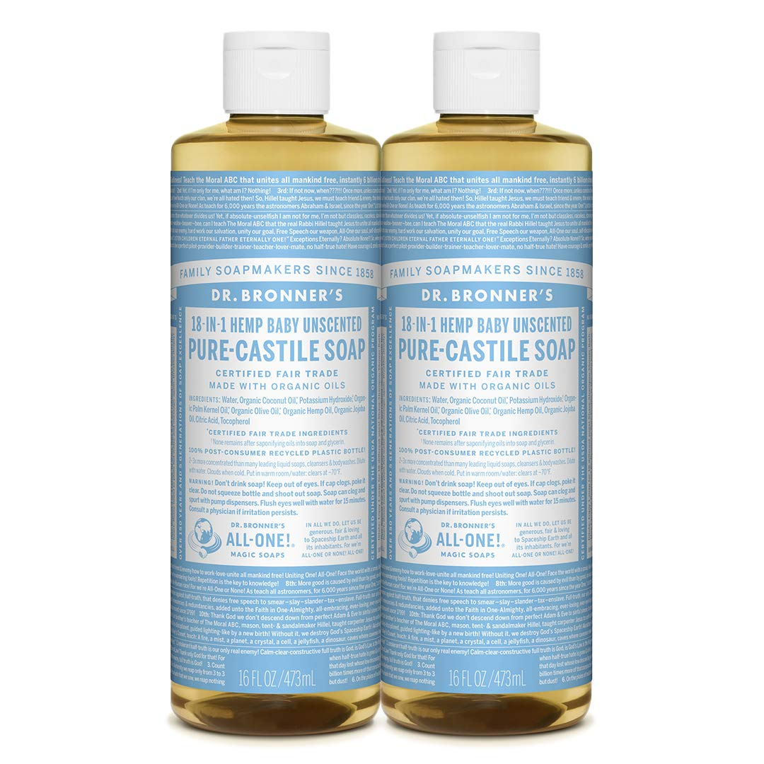 Dr. Bronner's - Pure-Castile Liquid Soap (Baby Unscented, 16 ounce, 2-Pack) - Made with Organic Oils, 18-in-1 Uses: Face, Hair, Laundry and Dishes, For Sensitive Skin and Babies, No Added Fragrance