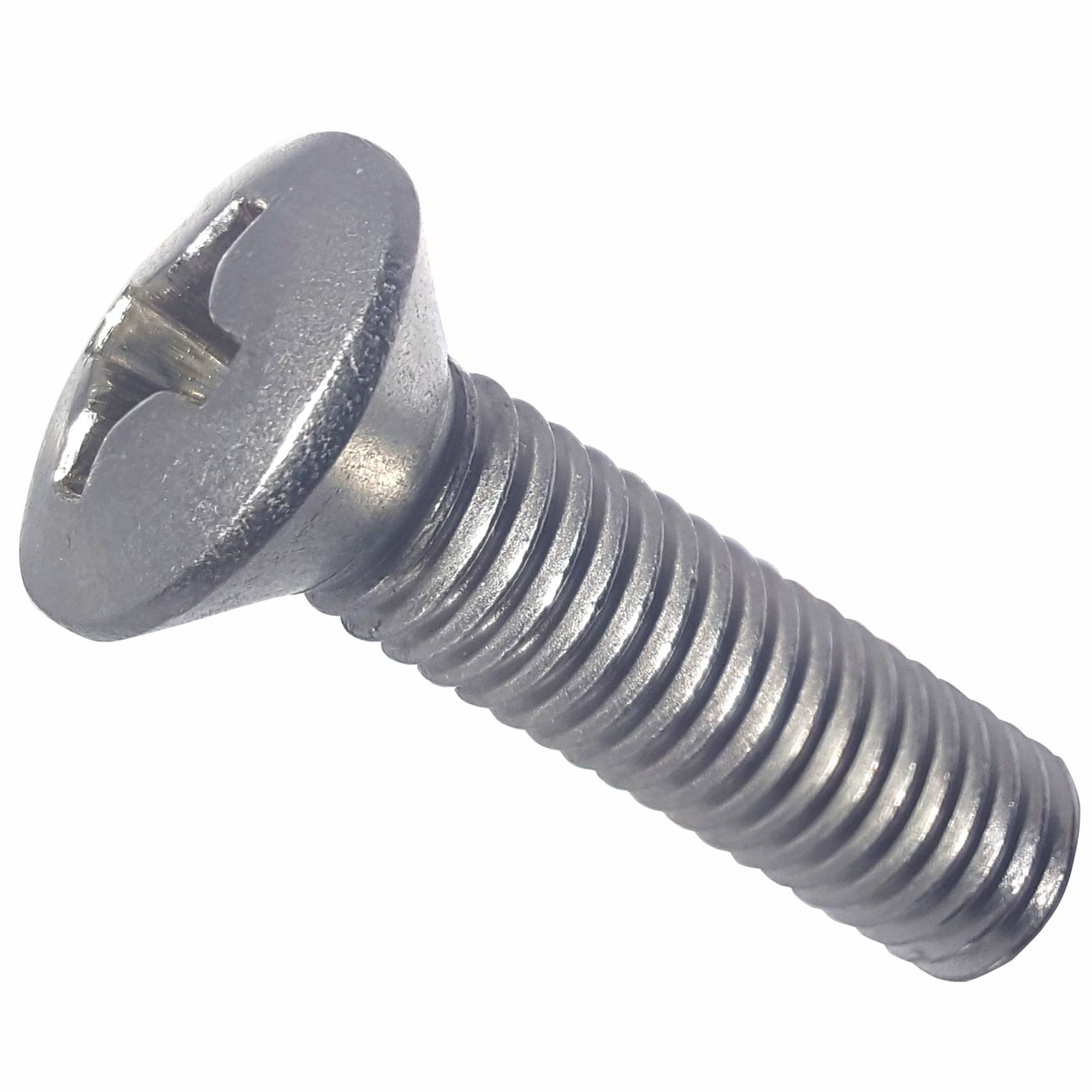12-24 x 1-1/4'' Oval Head Machine Screws, Phillips Drive, Stainless Steel 18-8, Full Thread, Bright Finish, Machine Thread, Quantity 50
