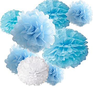 18pcs Tissue Hanging Paper Pom Poms Hmxpls Flower Ball Wedding Party Outdoor Decoration Premium Tissue Paper Pom Pom Flowers Craft Kit Blue