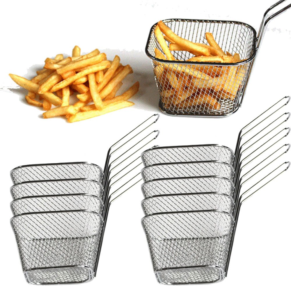 Fry Basket Wholesale Electroplate Stainless Steel Food Strainer Mini Frying Net Block (Small | Square, Pack 10)