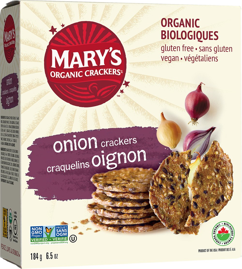 Marys Gone Crackers Organic Onion Cracker, 6.5 Ounce - 12 per case.