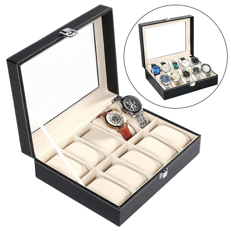 creine 10スロット時計ボックスオーガナイザージュエリーストレージケースウィンドウ表示、ブラック B07BKWNVB5