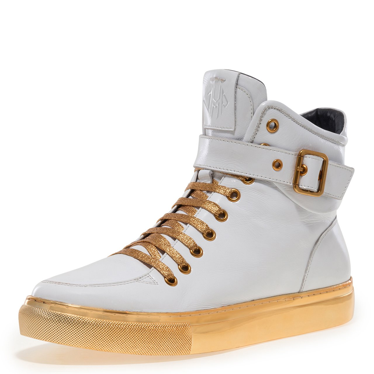 Jump Newyork Men's Sullivan Round Toe Hand-Painted Leather Lace-Up Inside Zipper and Strap High-Top Sneaker White Patent 9 D US Men