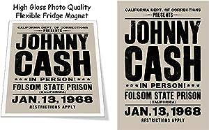 "Johnny Cash Folsom Prison 1968 3""x4"" Flexible Fridge Magnet, High Gloss Photo Finish"