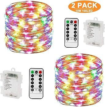 Guirnalda Luces, Luces LED Pilas 10M 100LED [2 Pack], Guirnalda Luces Pilas Impermeable IP67, Cadena de Luces LED 8 Modos, Luces de Cadena Micro para Navidad, Hogar, Decoración, Pared, Bodas, Fiesta: Amazon.es: