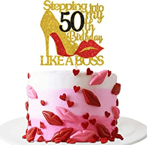 INNORU Gold Red Glitter Stepping into 50 Cake Topper - 50th Birthday Cake Decor - Stepping into My 50th Birthday Like a Boss - Happy Birthday Party Cake Decorations for Girl Birthday Photo Props