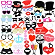 Photo Booth Props, aitesco 75 Pieces DIY Kit Dress Up Accessories Party Favors for Party