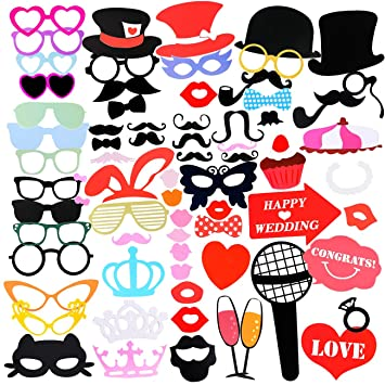 Photo Booth Props Aitesco 75 Pieces Diy Kit Dress Up Accessories