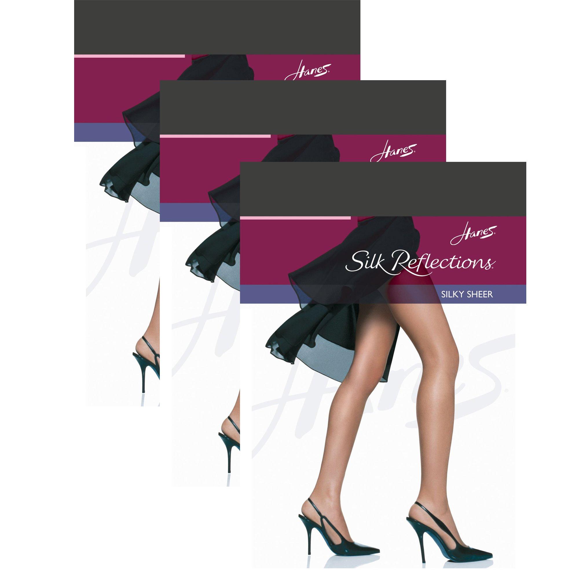 Hanes Women`s Set of 3 Silk Reflections Non-Control Top RT Pantyhose EF, Barely Black