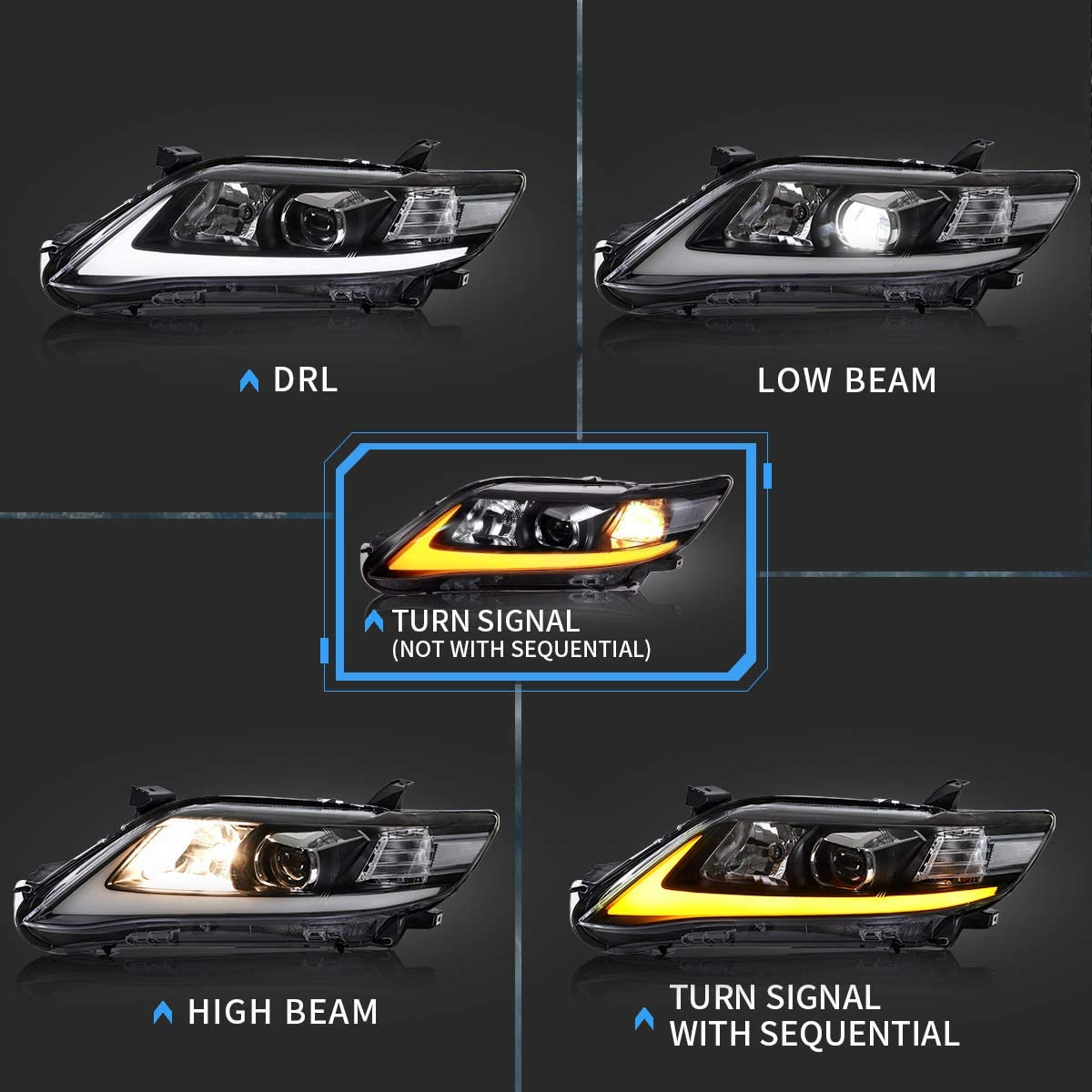 US Version Not Included with Sequential Low Beam Fits D2S// D2H HID Bulbs High Beam Come with H7 Halogen VLAND LED Projector Headlights Compatible with Toyota Camry 2010 2011