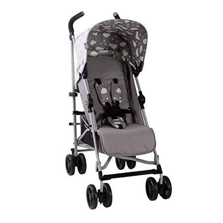 My Babiie US02 Grey Clouds Baby Stroller Lightweight Baby Stroller with Carry Handle Silver Frame and Grey Clouds Lightweight Travel Stroller Suitable from Birth to 33 lbs