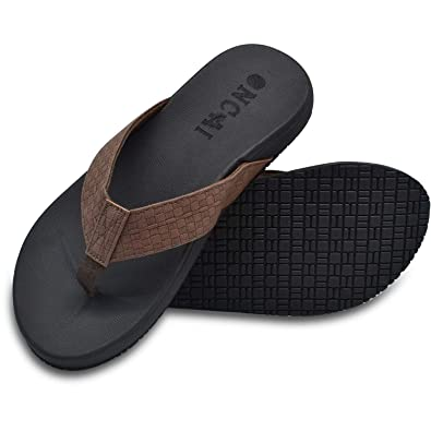ONCAI-Mens-Sandals-Flip-Flops-for-Men-Summer Beach Slippers Black Athletic Cushion Footbed Waterproof Outdoor