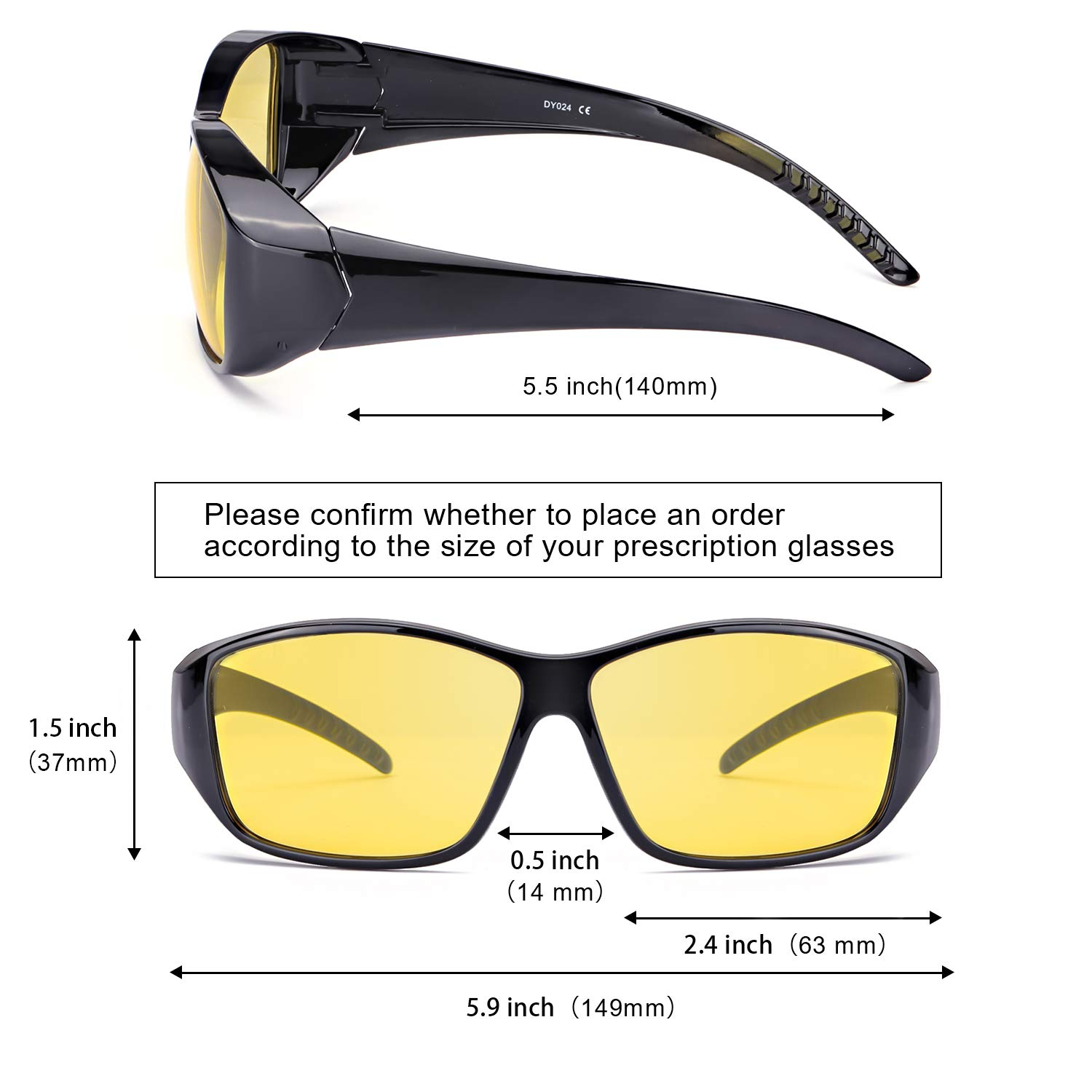 7f8a8ee4fe89 Amazon.com: IGnaef Wrap Around Night Driving HD Polarized Glasses Fit Over  Rectangular Glasses with Clip Holder (black): Clothing
