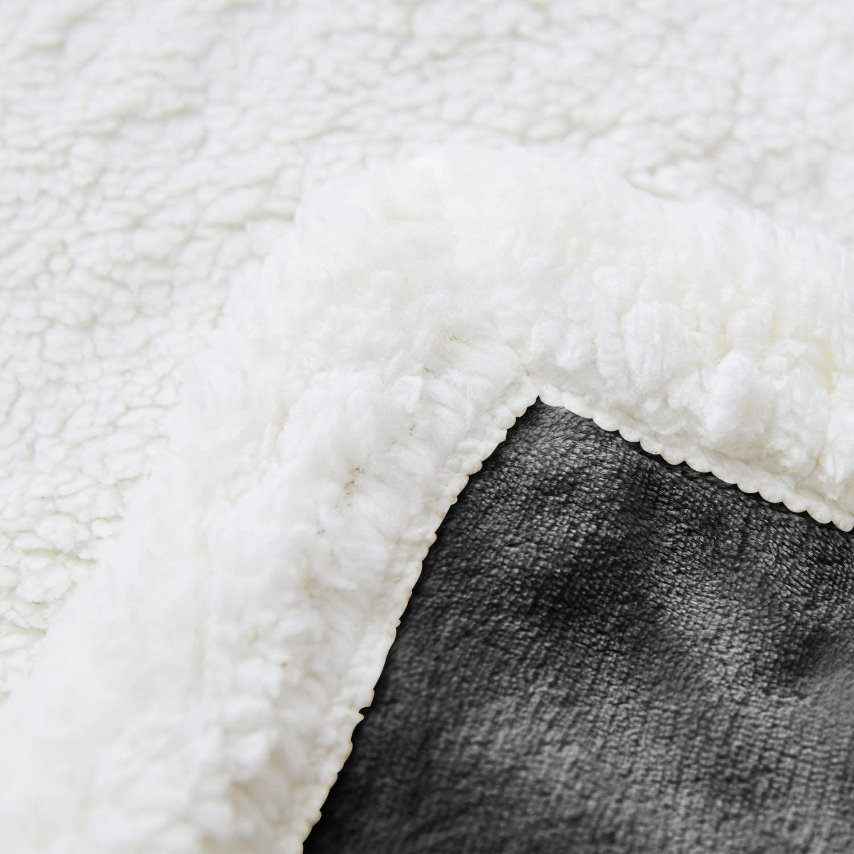 I'HERMU Sherpa Fleece Throw Blanket for Couch (Large 51''x 63'', Dark Grey) Soft Plush Blankets Fluffy Fuzzy Warm Cozy Throws fo