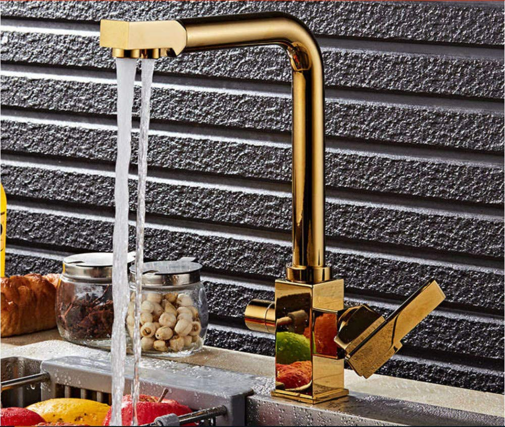 Xiehao golden Brass Swivel Hot and Cold Water Faucet 3 Way Water Filter Purifier Kitchen Faucets Chrome Single Lever Mixer Sink Taps
