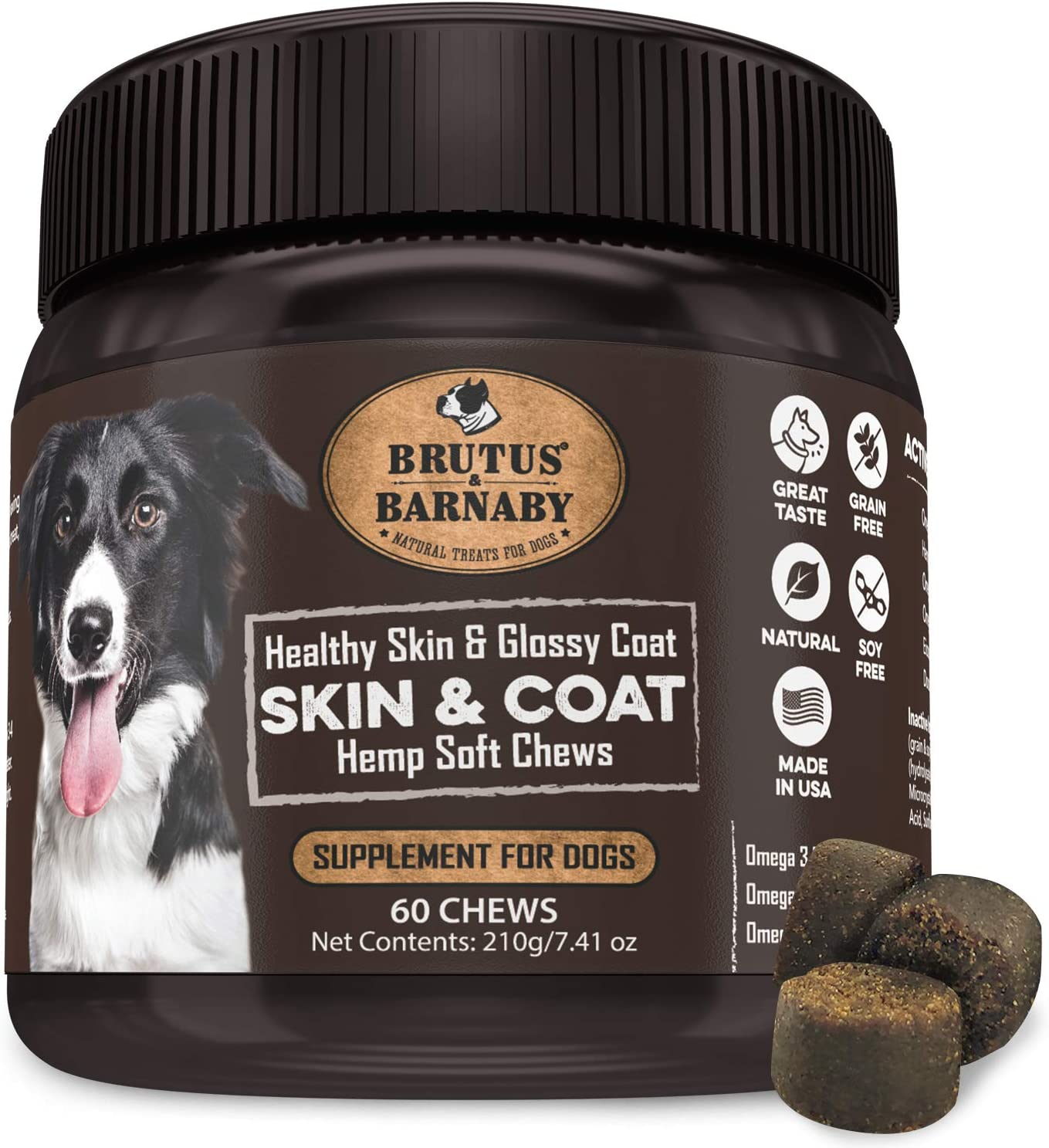 Omega 3 Fish Oil for Dogs - Easy to Deliver Skin and Coat Soft Chew, Organic Hemp, Coconut Oil, EPA,DHA ; Dog Skin Allergy Treatment for Itch-Free Skin, Increases Shiny Coat, Vitamin C & E