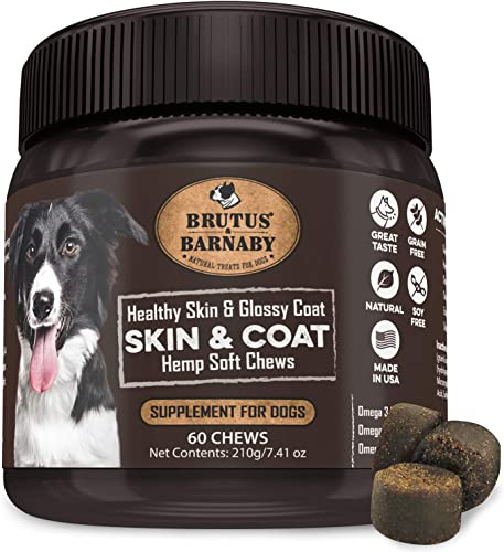 BRUTUS BARNABY Omega 3 Fish Oil for Dogs – Easy to Deliver Skin and Coat Soft Chew, Coconut Oil, EPA,DHA Dog Skin Allergy Treatment for Itch-Free Skin, Increases Shiny Coat, Vitamin C E