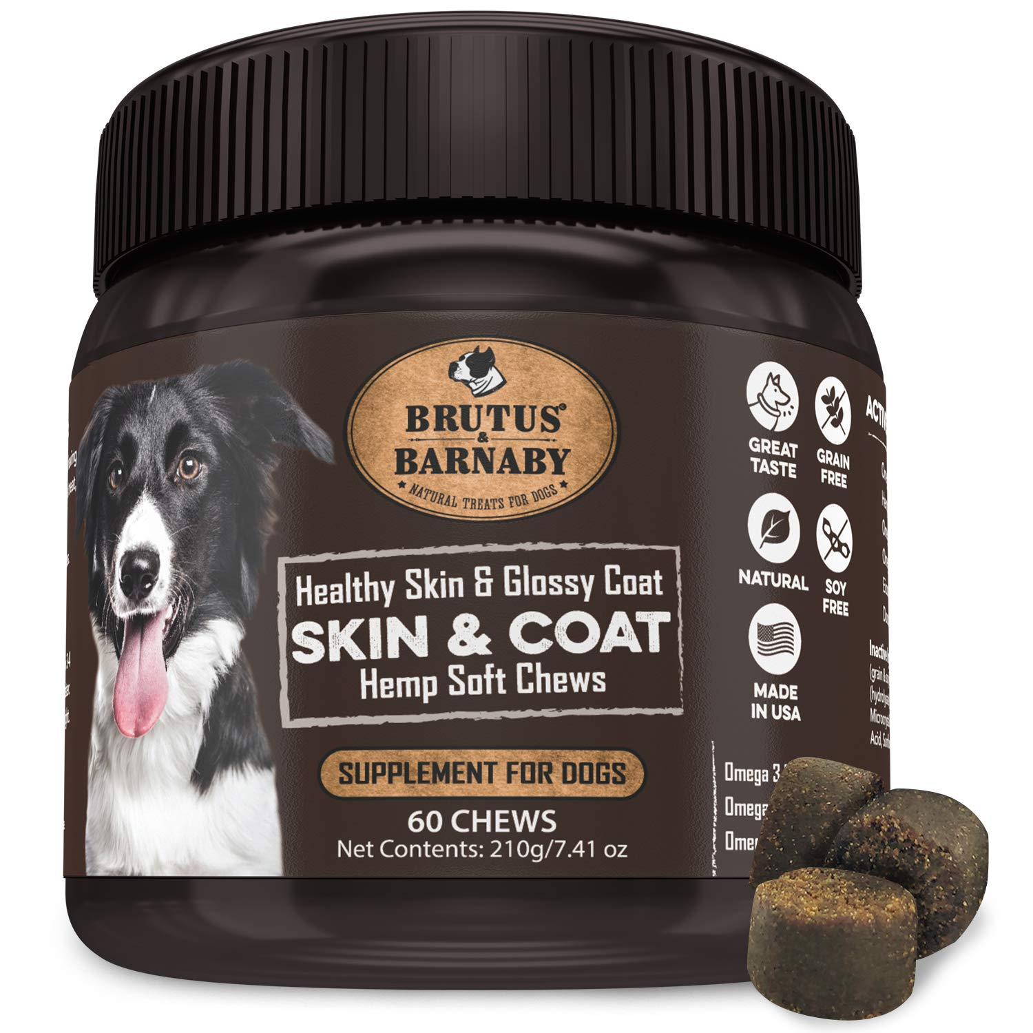 Omega 3 Fish Oil for Dogs - Easy to Deliver Skin and Coat Soft Chew, Organic Hemp, Coconut Oil, EPA,DHA ; Dog Skin Allergy Treatment for Itch-Free Skin, Increases Shiny Coat, Vitamin C & E by BRUTUS & BARNABY