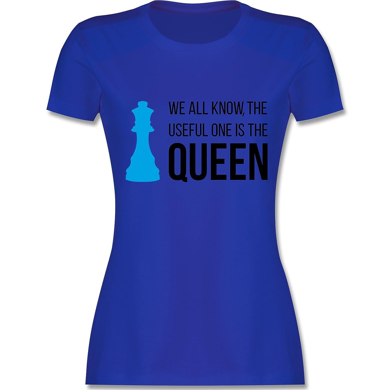 Typisch Frauen - Schach-Damen Queen - Damen T-Shirt Rundhals: Shirtracer:  Amazon.de: Bekleidung
