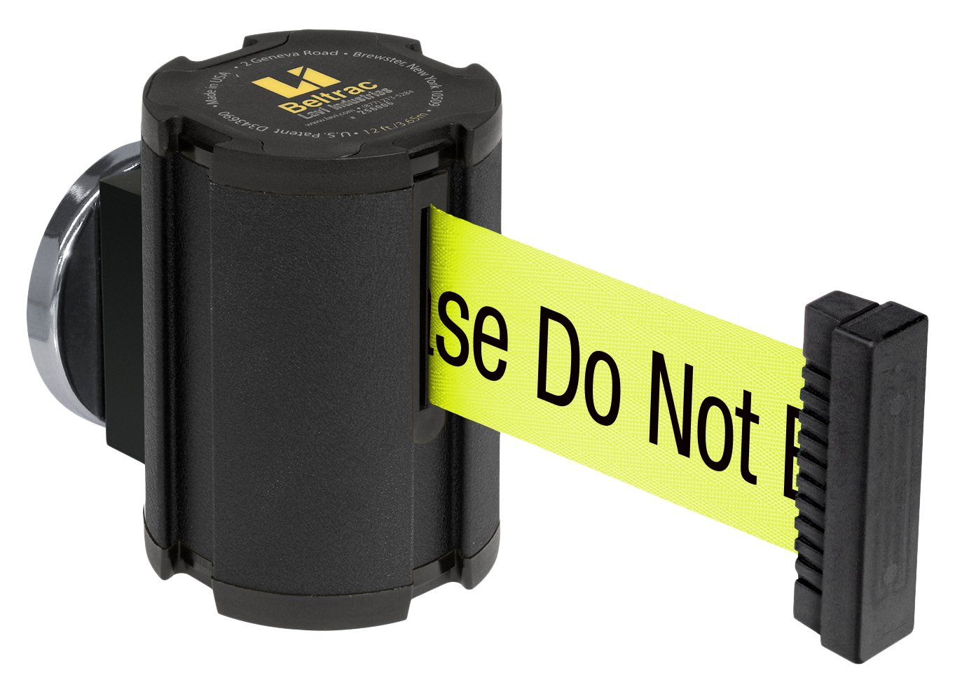 Lavi Industries 50-41300MG/WB/FY/S6 Beltrac 13' Magnetic Wall-Mounted Retractable Belt Barrier, Wrinkle Black with''Caution - Please Do Not Enter'' Belt by Lavi Industries