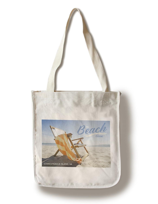 Chincoteague島、バージニア州 – 折りたたみビーチ椅子 Canvas Tote Bag LANT-79947-TT B06XZYCKQH  Canvas Tote Bag