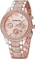 Diamond Watches Men and Women Quartz Clock Calendar Rose Gold Silver Stainless Steel Watch