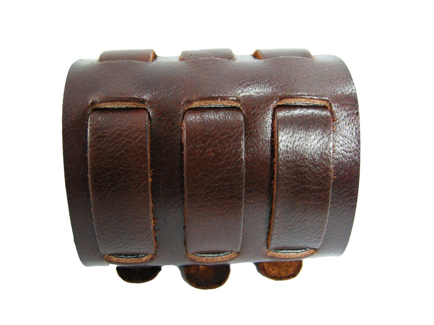 BrownBeans, Biker Buckles Brown Leather Wristband Bracelet Watchbands for Men (LBCT4023)