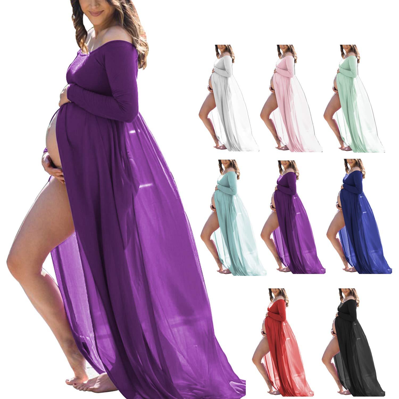 Women's Maternity Photography Dress Stretchy Long Sleeve Chiffon Split Front Photoshoot Baby Shower(Purple,L)