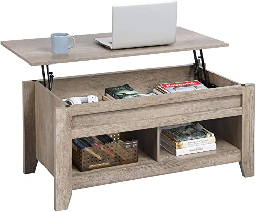 YAHEETECH Lift Top Coffee Table with Hidden Storage Compartment Lower Shelf, Lift Tabletop Dining Table for Living Room, 24.2in H, Craftsman Oak